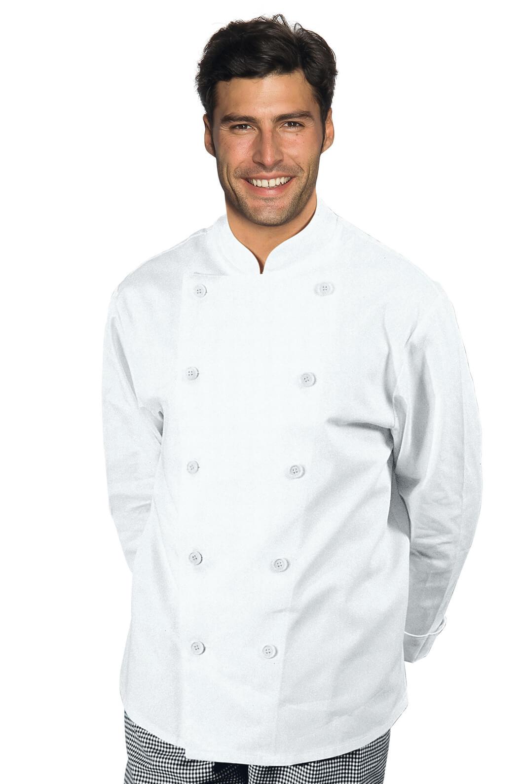 Veste chef cuisinier livorno boutons plats blanc 100 coton for Cuisinier particulier