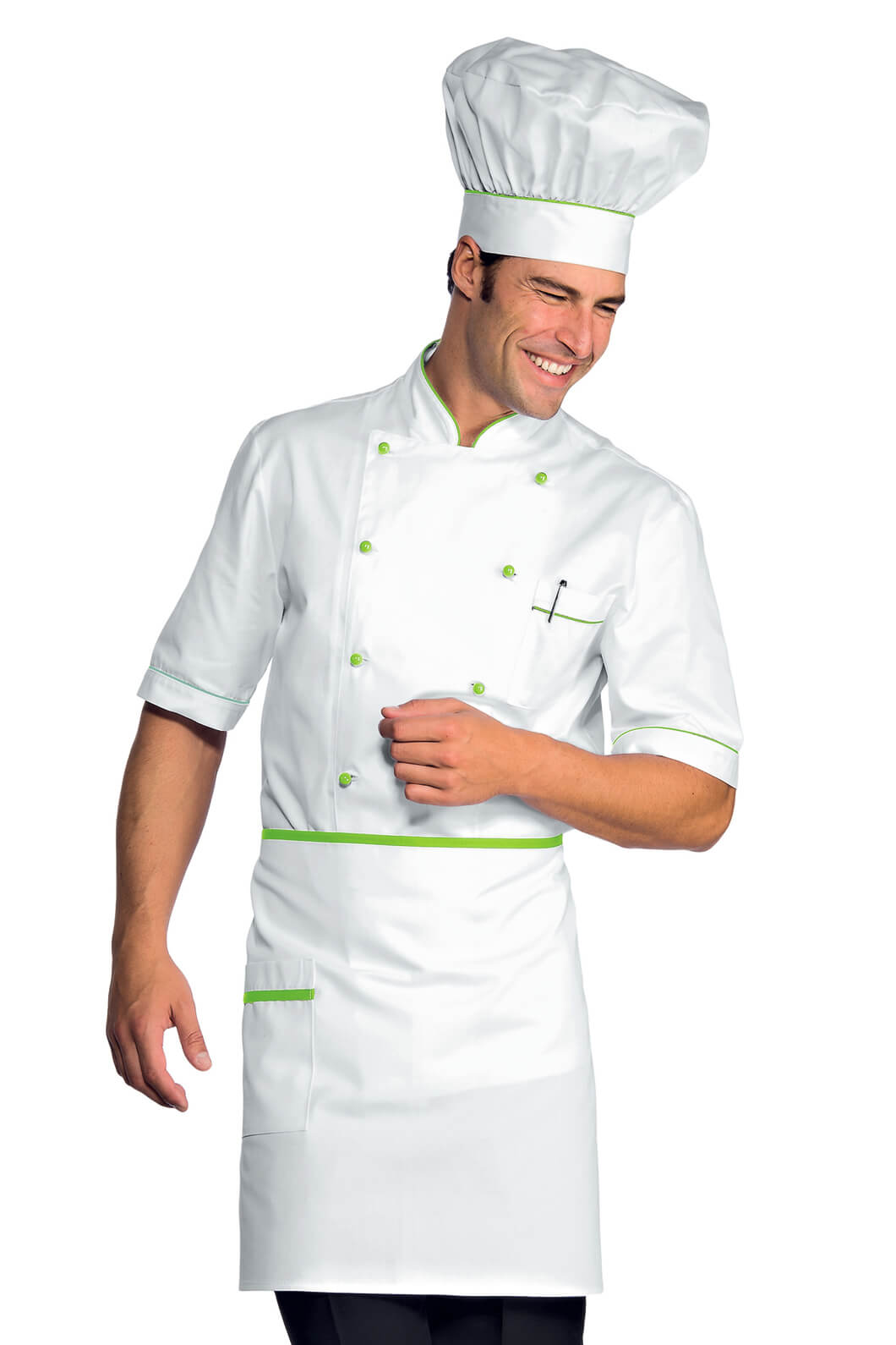 Veste chef cuisinier alicante blanc vert pomme 100 coton for Cuisinier particulier