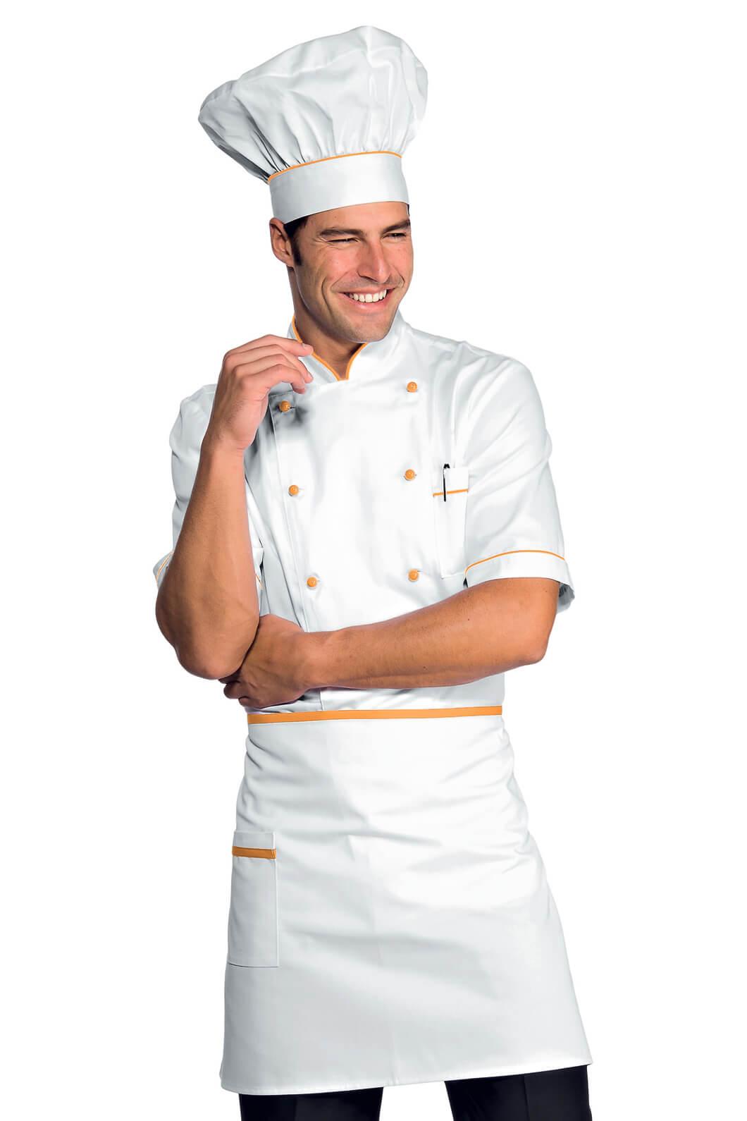 Veste chef cuisinier alicante blanc abricot 100 coton for Cuisinier 95