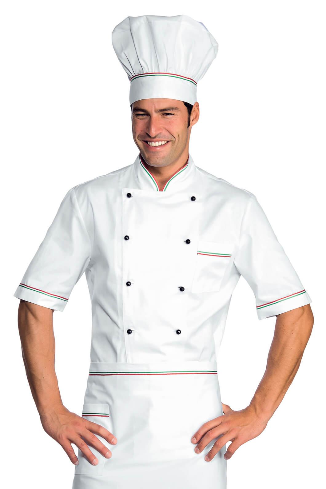 Veste chef cuisinier alicante blanc tricolore 100 coton for Cuisinier particulier