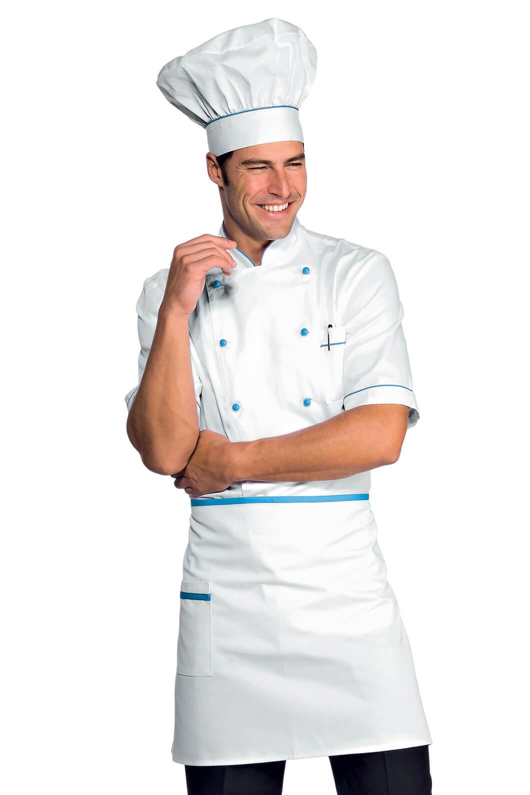Veste chef cuisinier alicante blanc turquoise 100 coton for Un cuisinier