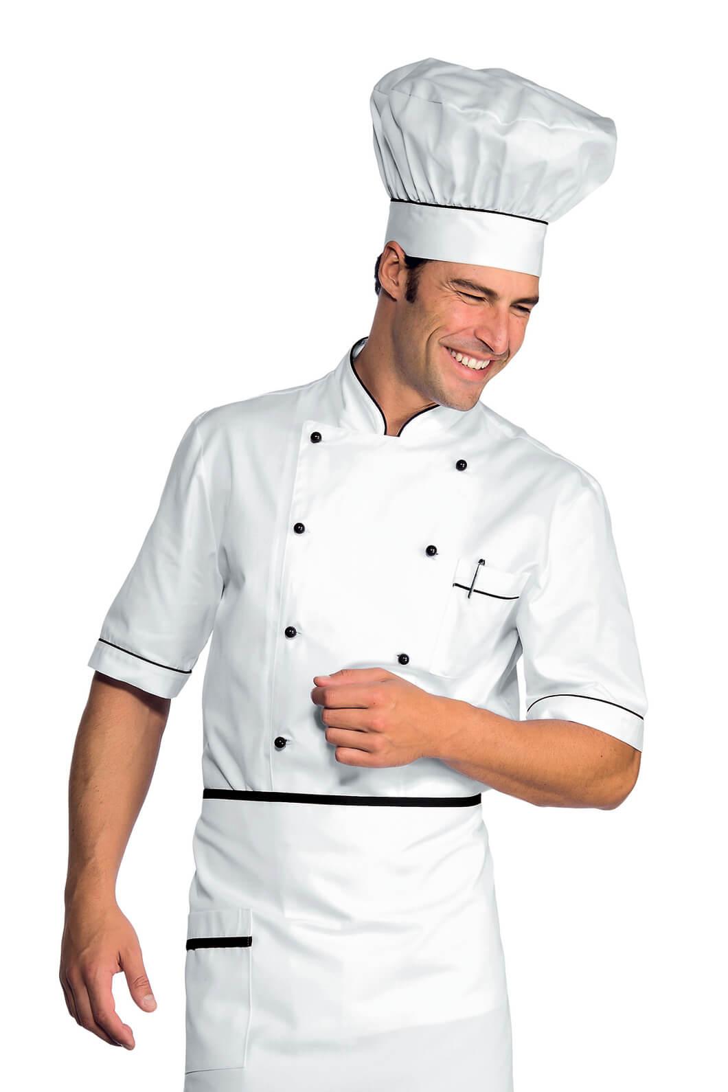 Veste chef cuisinier alicante blanc noir 100 coton for Cuisinier particulier