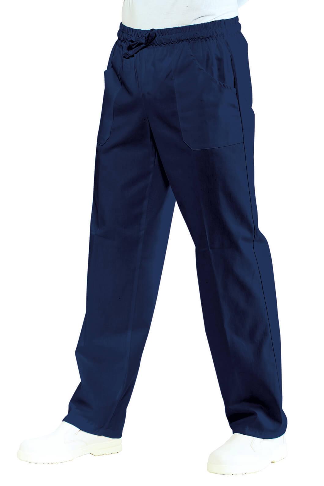 Pantalon-medical-Mixte-Taille-Elastique-Bleu-marine-100-Coton-Bleu
