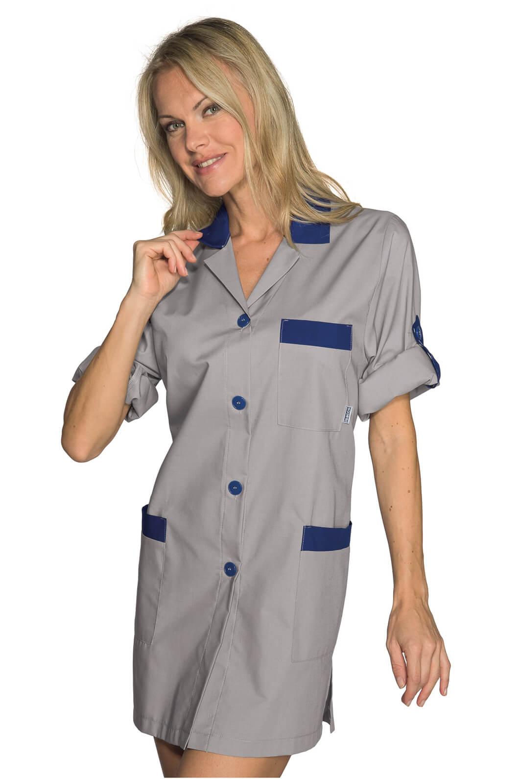 blouse de travail manches ajustables york gris bleu. Black Bedroom Furniture Sets. Home Design Ideas