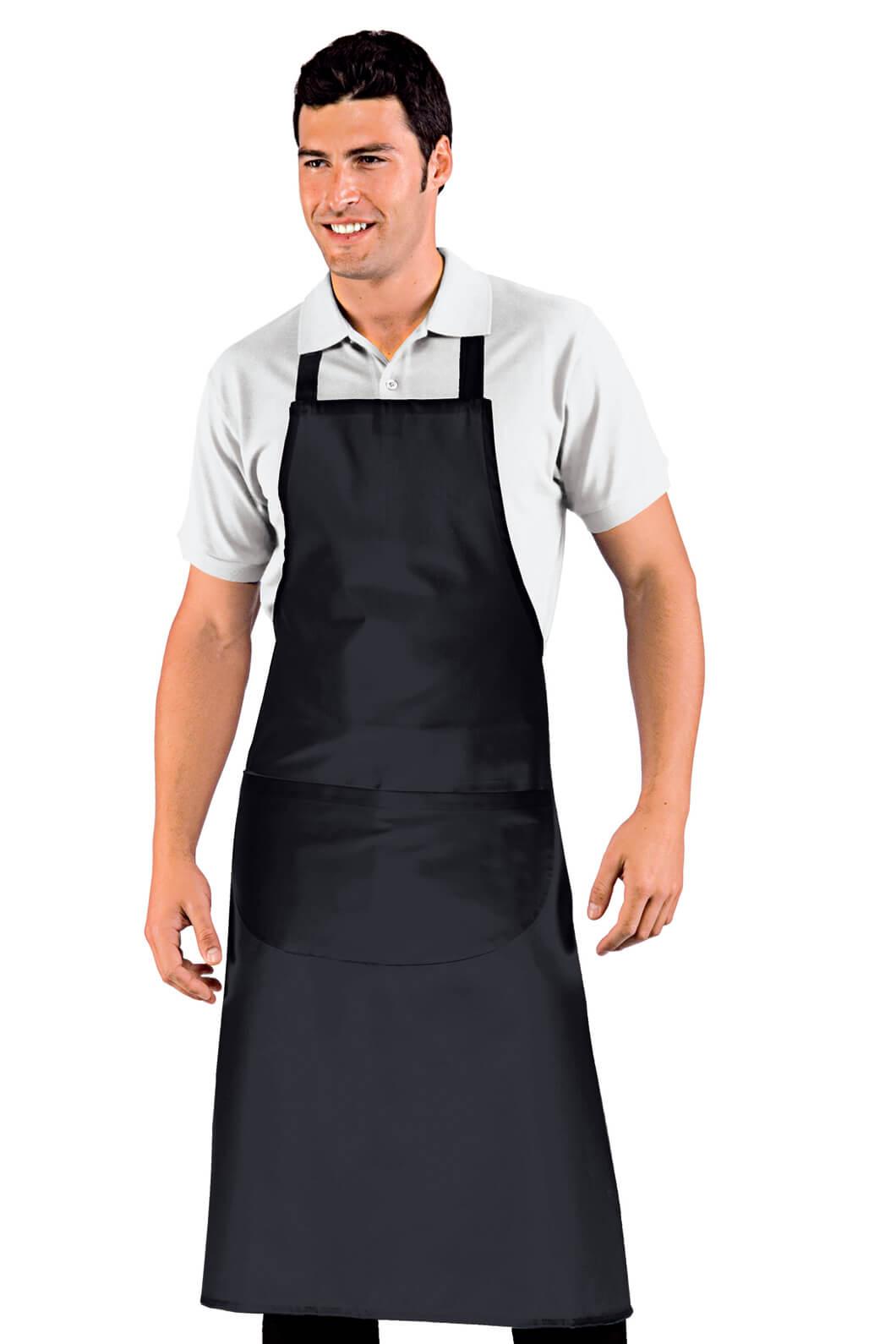 Tablier complet grande taille cm 96x105 noir tabliers de for Tablier de cuisine noir