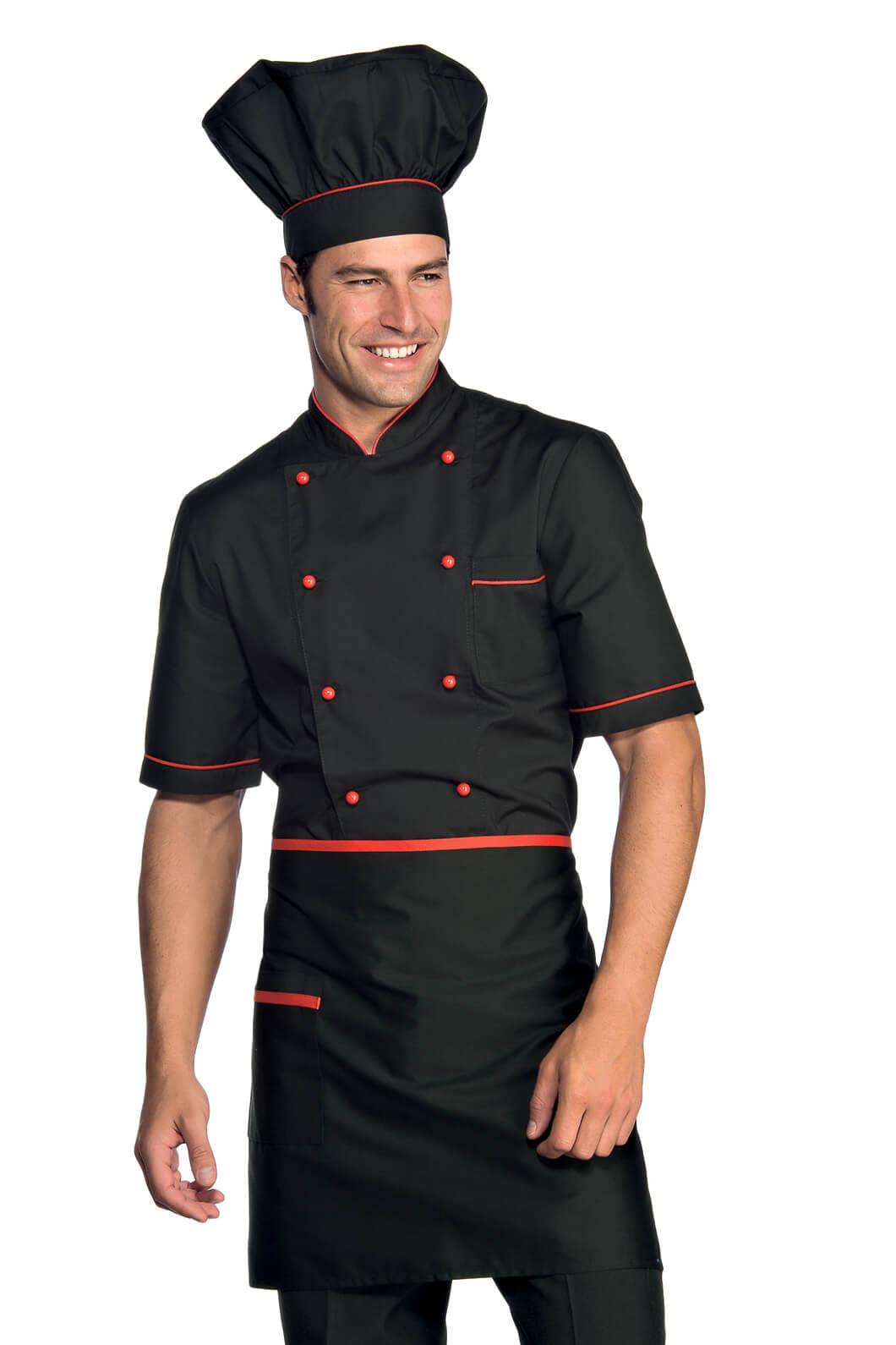 Tablier De Cuisine Taille Cm 70x46 Avec Poches Noir Rouge