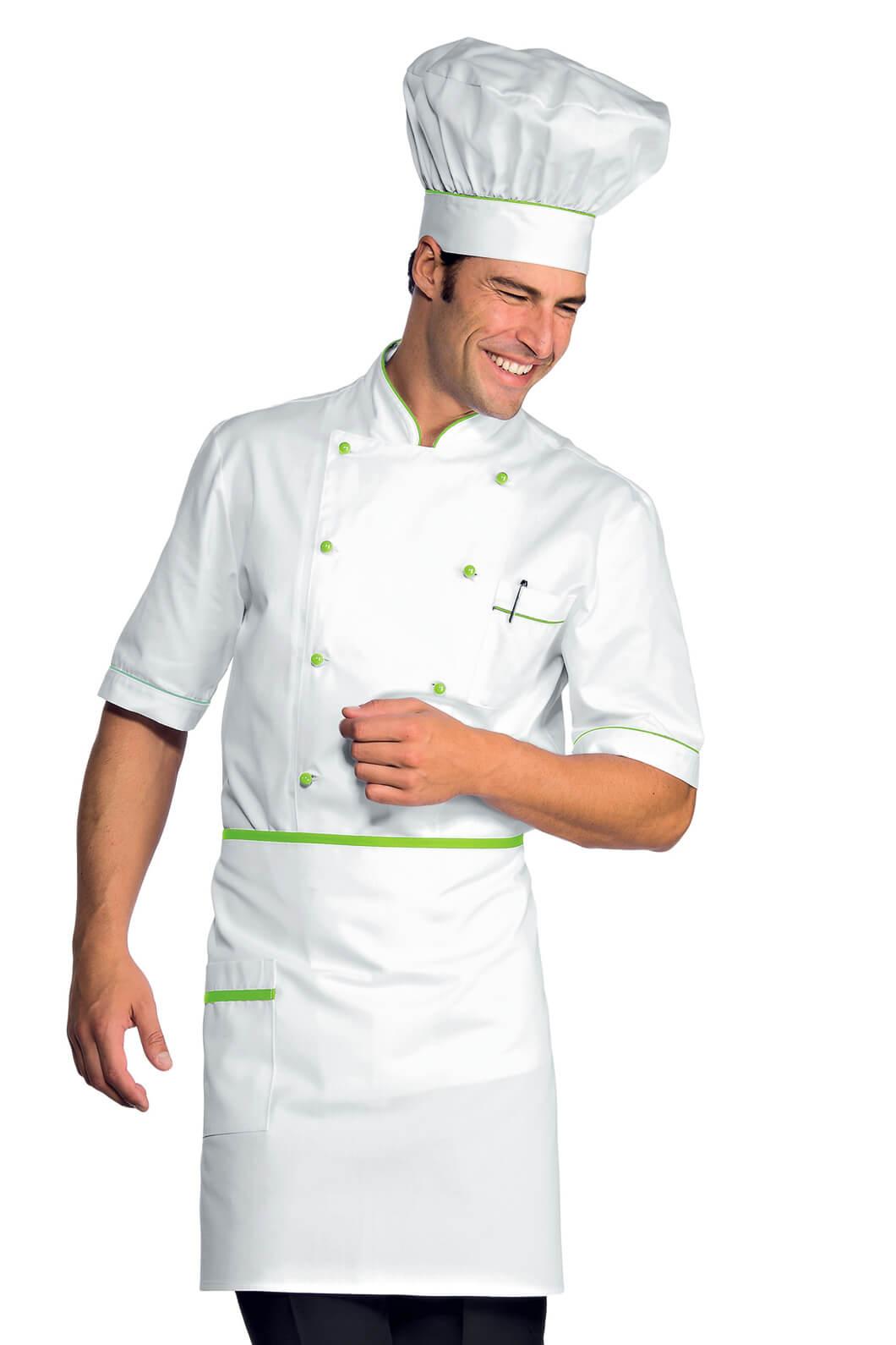 tablier de cuisine taille cm 70x46 avec poches blanc vert pomme tabliers de cuisine. Black Bedroom Furniture Sets. Home Design Ideas