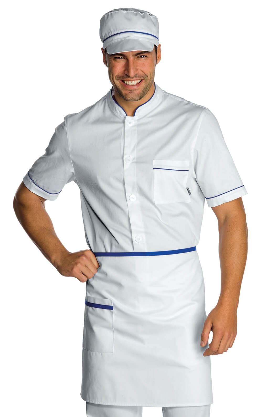 tablier de cuisine taille cm 70x46 avec poches blanc bleu cyan tabliers de cuisine. Black Bedroom Furniture Sets. Home Design Ideas