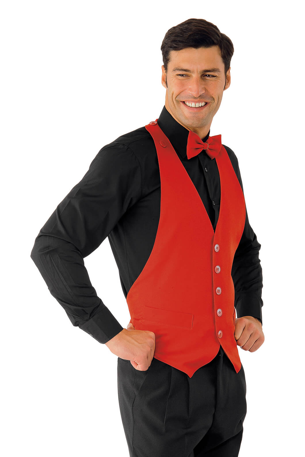 Gilet chef de rang bolero rouge restauration et for Chef de rang