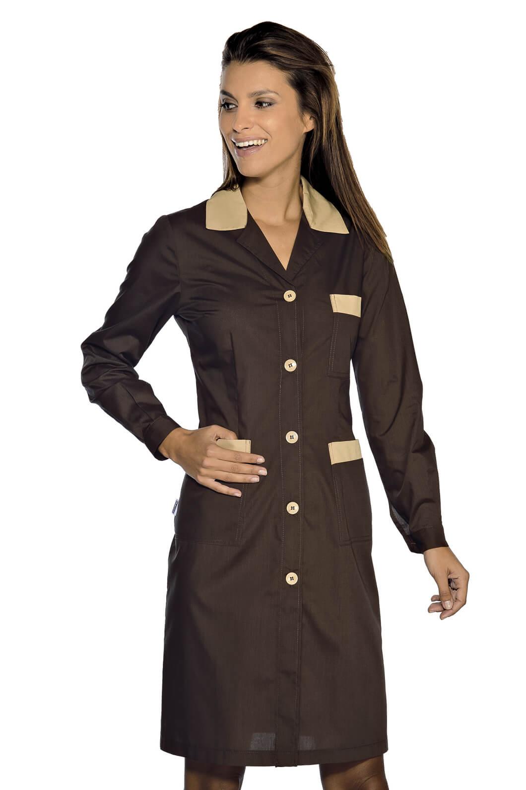 blouse de travail manches longues positano marron cacao. Black Bedroom Furniture Sets. Home Design Ideas
