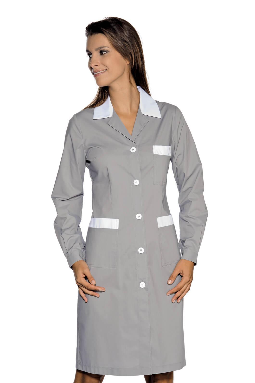 blouse de travail manches longues positano gris blanc. Black Bedroom Furniture Sets. Home Design Ideas