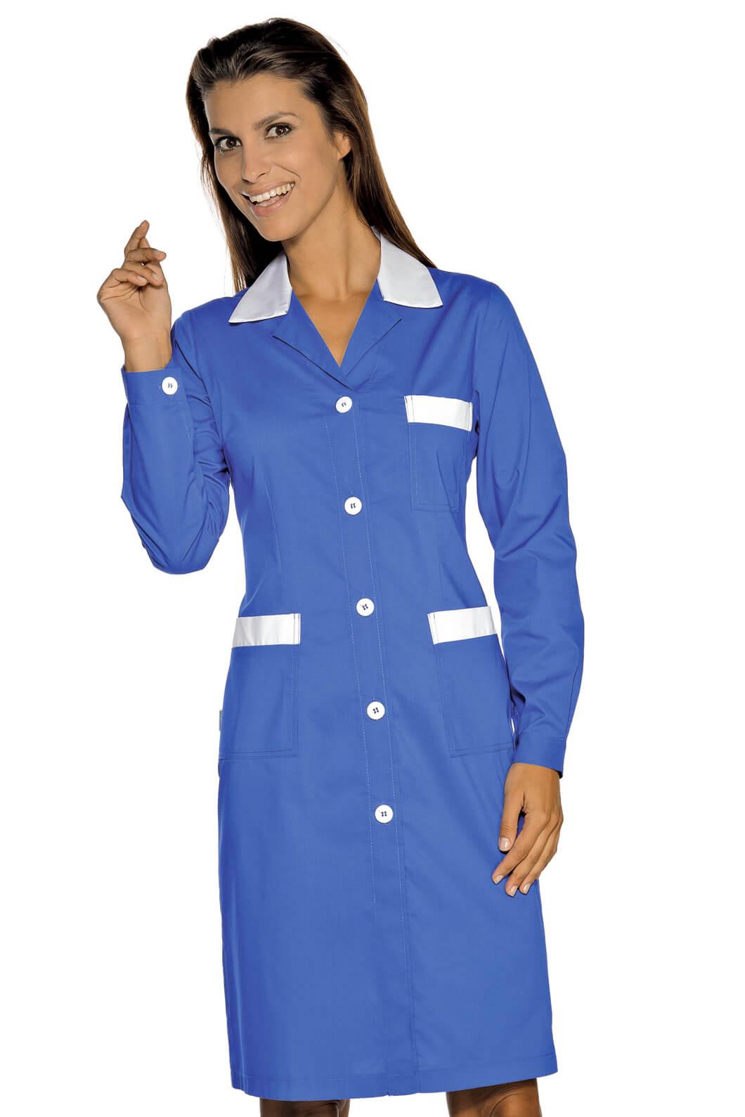 blouse de travail manches longues positano bleu cyan blanc. Black Bedroom Furniture Sets. Home Design Ideas