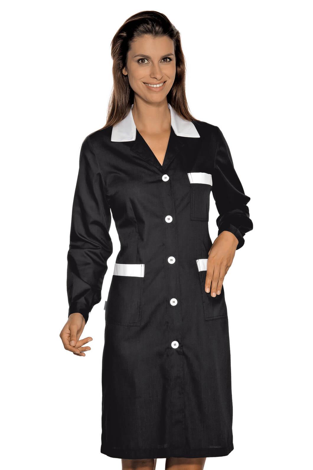 blouse de travail manches longues positano noir blanc. Black Bedroom Furniture Sets. Home Design Ideas