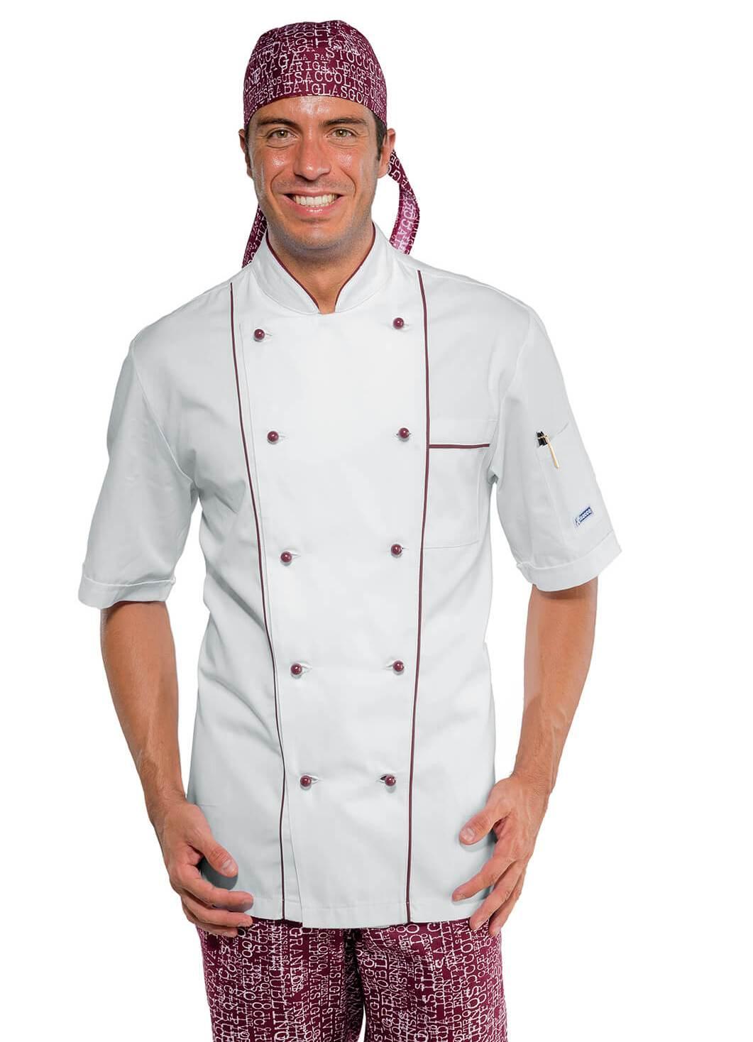veste cuisine blanche et bordeaux manches courtes veste cuisinier. Black Bedroom Furniture Sets. Home Design Ideas