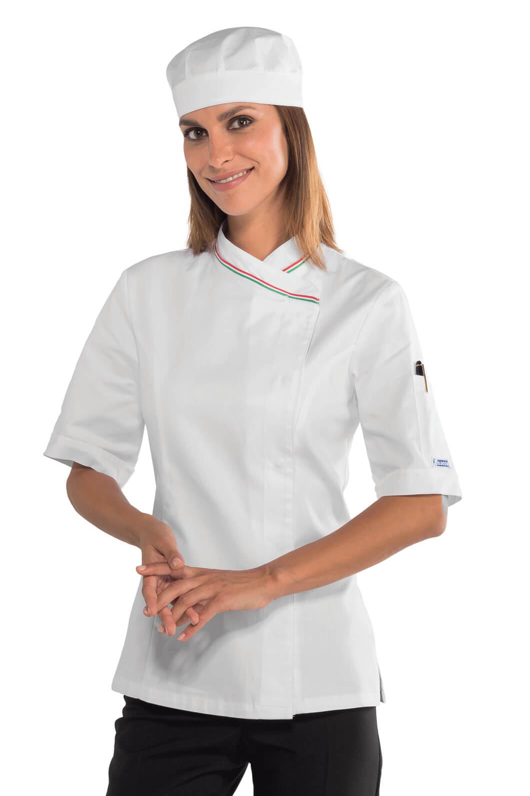 Veste cuisine italienne manches courtes pour femme 100 for Veste de cuisine manche courte