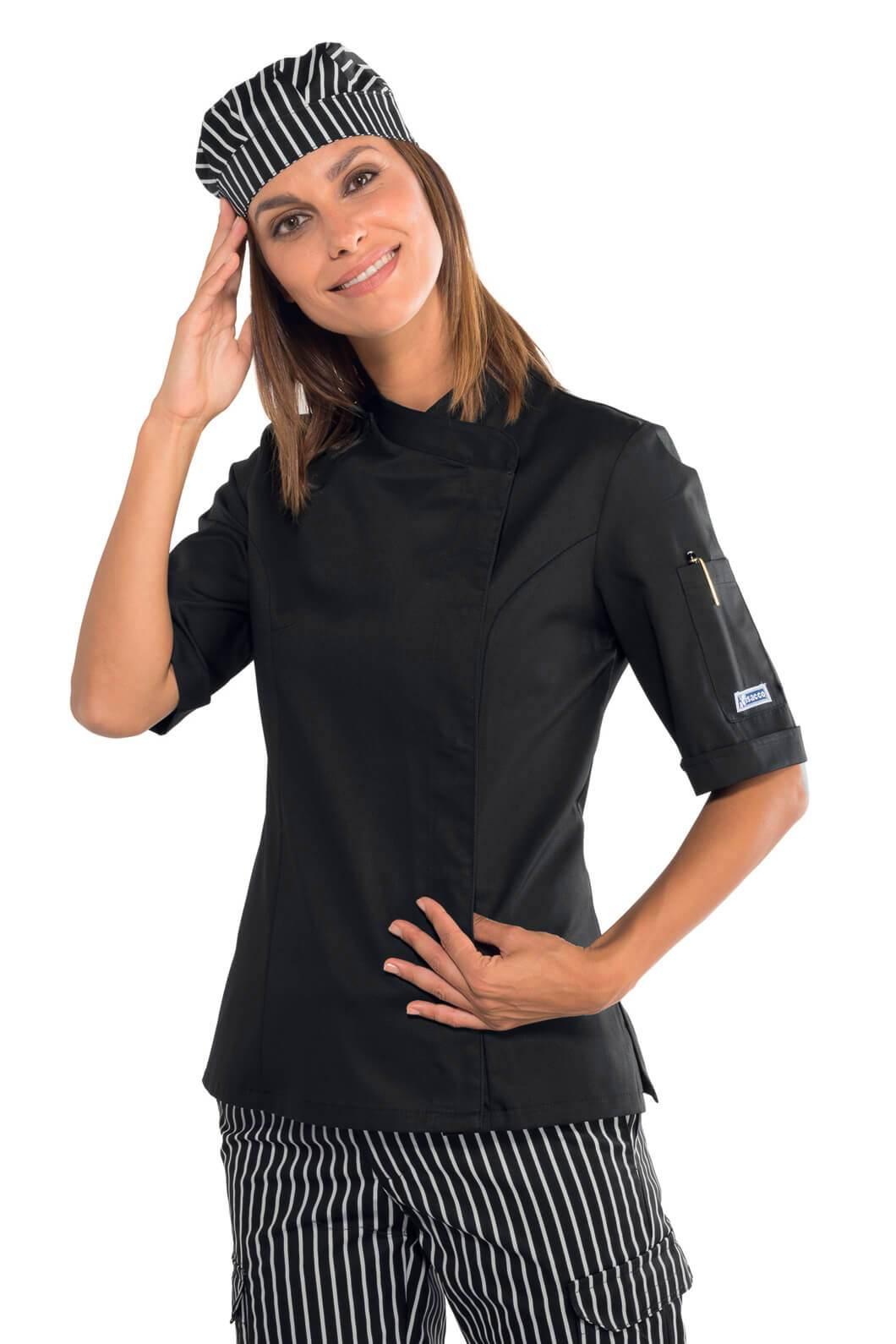 Veste de cuisine noire pour femme manches courtes for Veste de cuisine manche courte