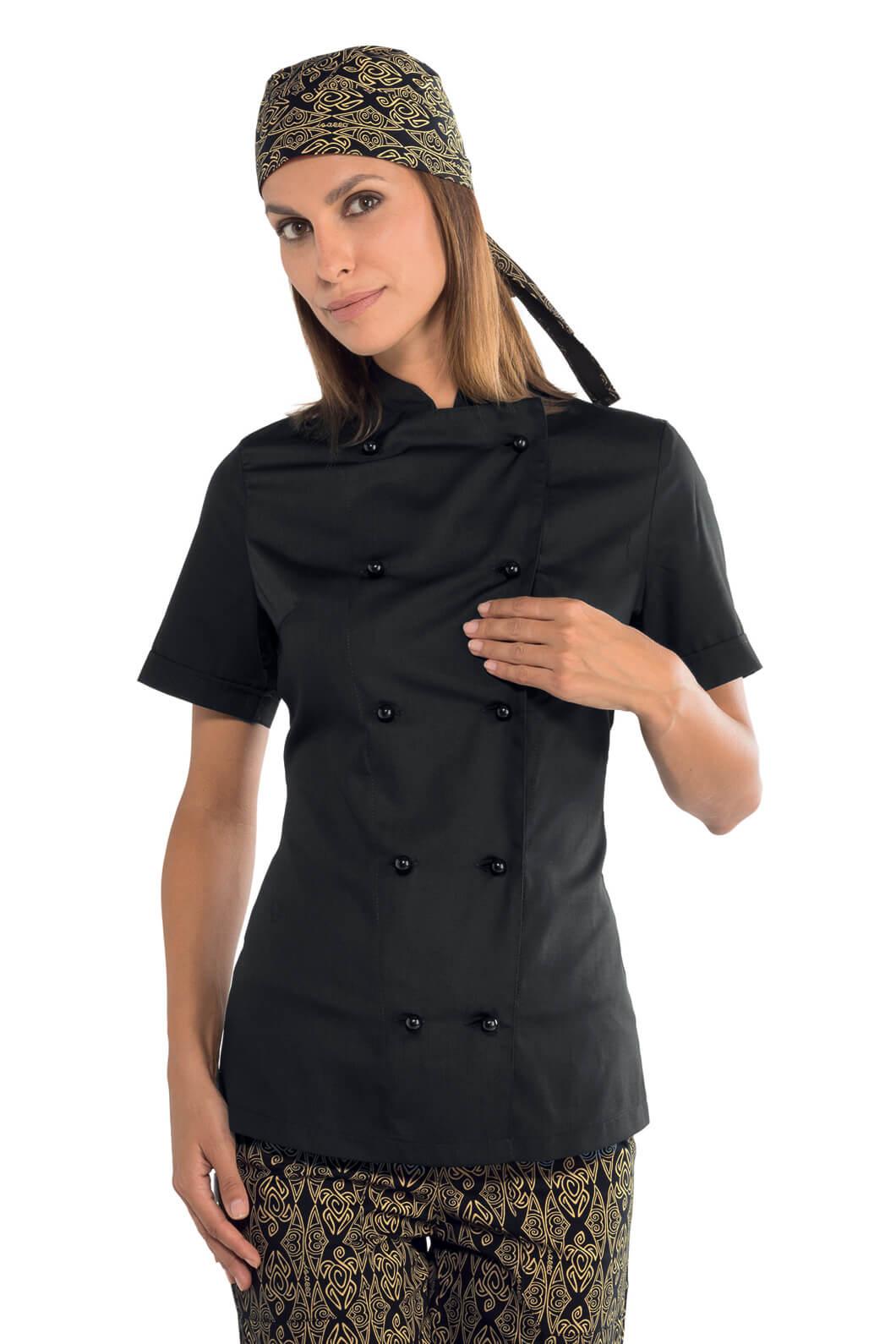 veste cuisine noire pour femme tissu extra l ger vestes. Black Bedroom Furniture Sets. Home Design Ideas