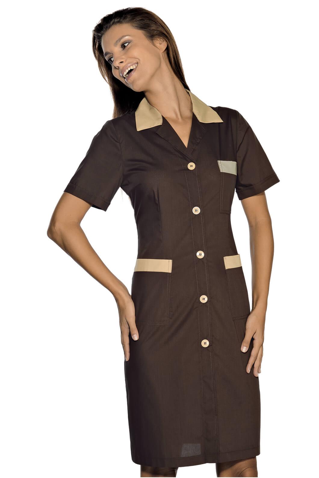 blouse de travail manches courtes positano marron cacao. Black Bedroom Furniture Sets. Home Design Ideas