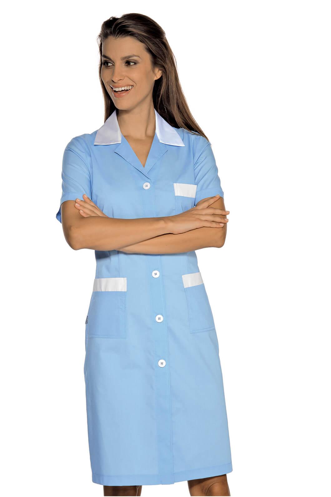 blouse de travail manches courtes positano bleu blanc. Black Bedroom Furniture Sets. Home Design Ideas