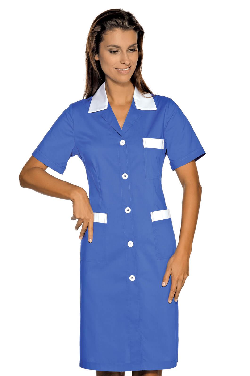 blouse de travail manches courtes positano bleu cyan blanc. Black Bedroom Furniture Sets. Home Design Ideas