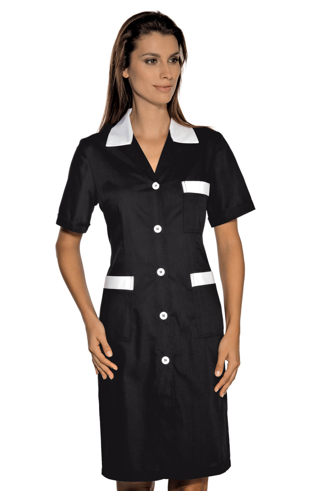 blouse de travail manches courtes positano noir blanc. Black Bedroom Furniture Sets. Home Design Ideas