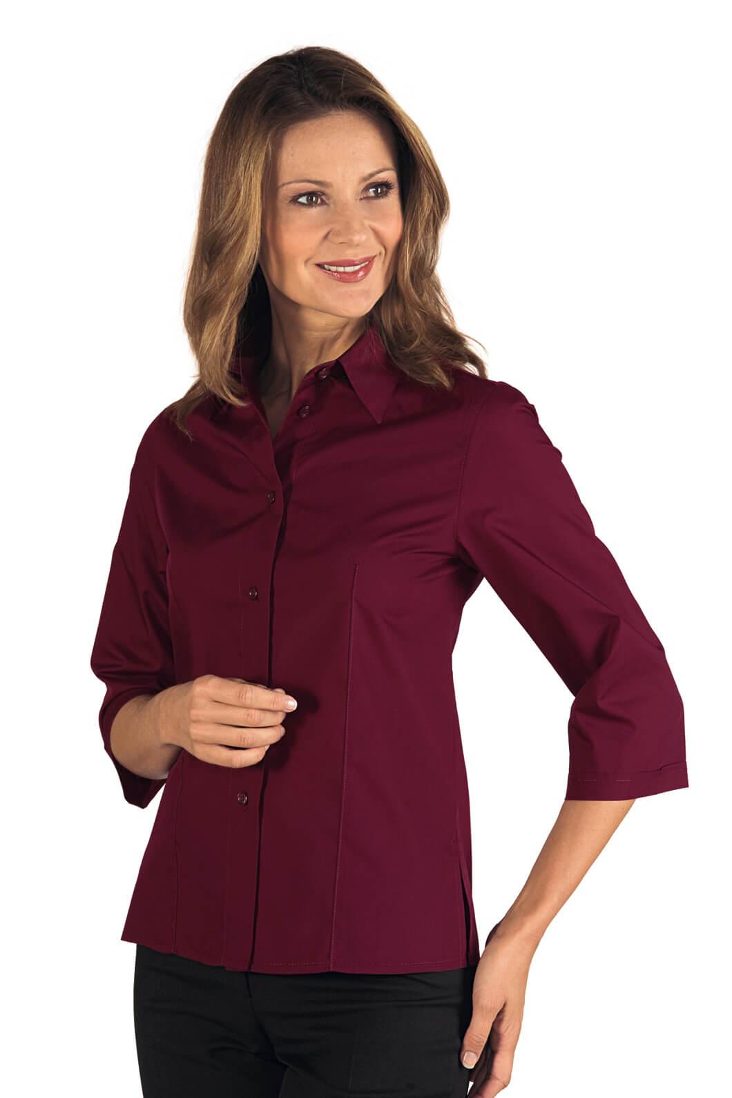 chemise femme kyoto manches 3 4 bordeaux