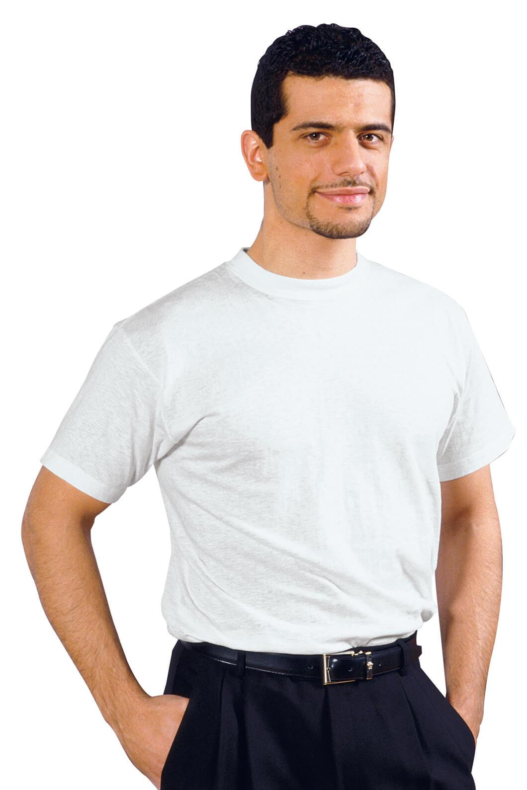 Tee shirt homme blanc 100 coton v tements de cuisine for T shirt de cuisine