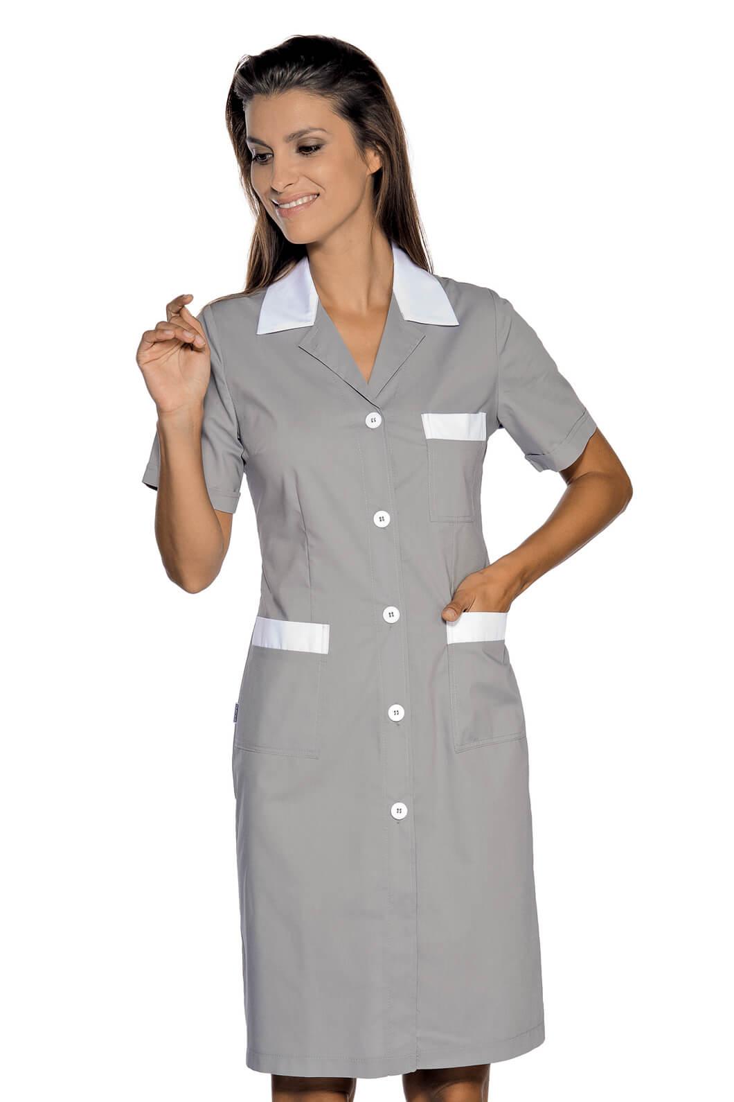 blouse de travail manches courtes positano gris blanc. Black Bedroom Furniture Sets. Home Design Ideas