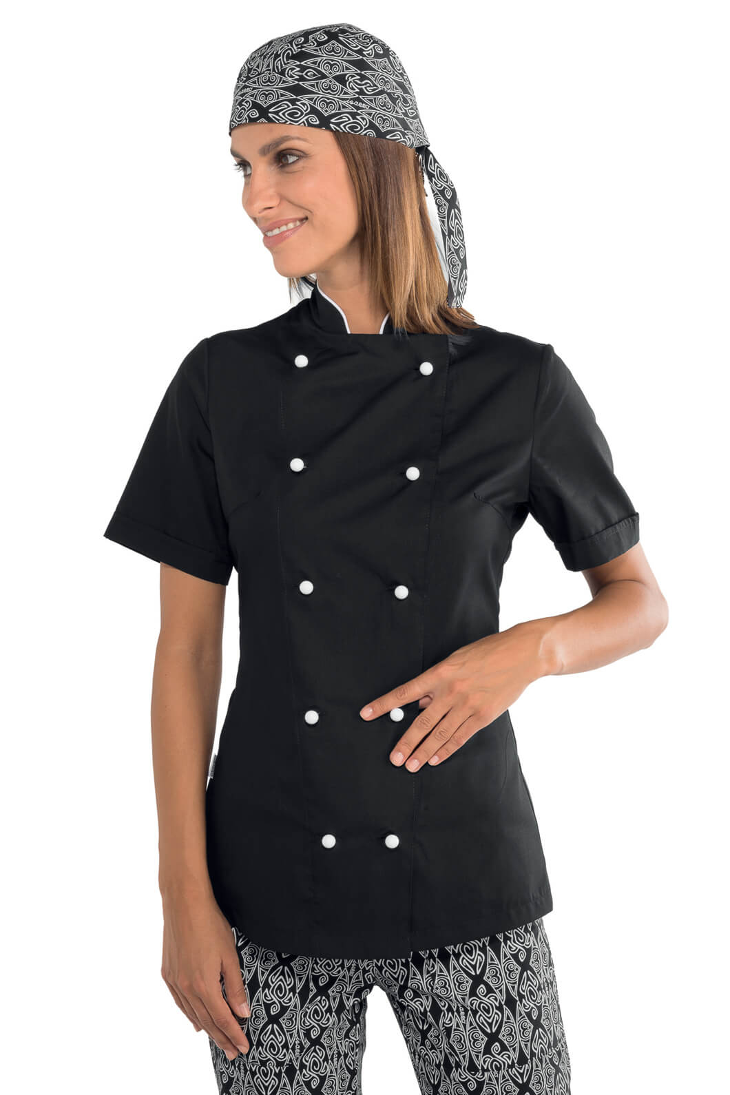 veste de cuisine noire et blanche pour femme tissu extra. Black Bedroom Furniture Sets. Home Design Ideas