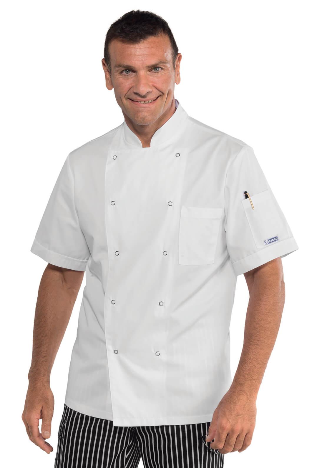 Veste de cuisine blanche manches courtes et boutons pression for Veste de cuisine manche courte