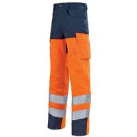 Pantalon de travail haute visibilité orange hivi et bleu marine pupil