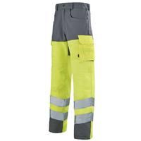 Pantalon de travail haute visibilité pas cher  jaune hivi et gris acier