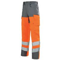 Pantalon de travail haute visibilité orange hivi et gris