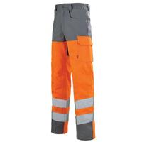 Pantalon de sécurité Haute visibilité orange fluo et gris