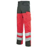 Pantalon de travail Haute visibilité rouge fluo et gris A.Lafont