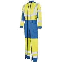 Combinaison de travail haute visibilité jaune fluo et bleu azur