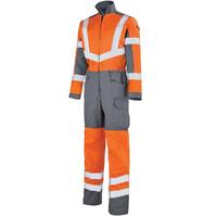 Combinaison de travail Haute visibilité orange fluo etgris