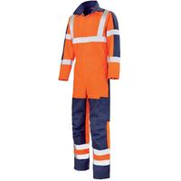 Combinaison de travail haute visibilité orange fluo et bleu