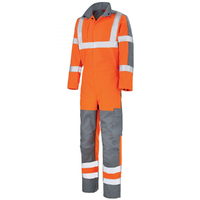 Combinaison de travail haute visibilité orange fluo et gris