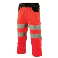 Pantacourt de travail haute visibilité rouge fluo et noir galilee