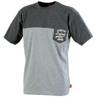 Tee-shirt bicolore chiné noir chiné / gris chiné cayuga