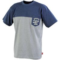 Tee-shirt bicolore chiné bleu chiné / gris foncé chiné cayuga