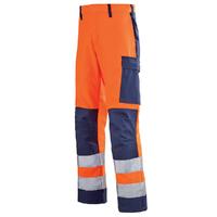 Pantalon de travail Haute visibilité orange hivi et bleu marine mars
