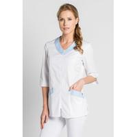 Blouse médicale /esthétique blanche et bleu