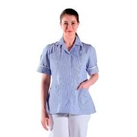Chemise médicale manches courtes bleu rayé blanc