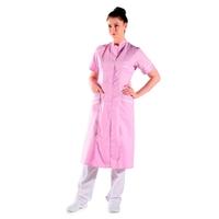 Blouse infirmière longue rose col mao