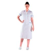 Blouse infirmière longue blanche et bleu manches courtes