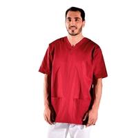 Tunique médicale rouge bordeaux manches courtes