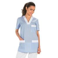 Tunique de travail femme à manche courte bleu et blanc