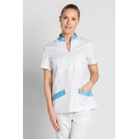 Blouse médicale col mao Dyneke blanc bleu